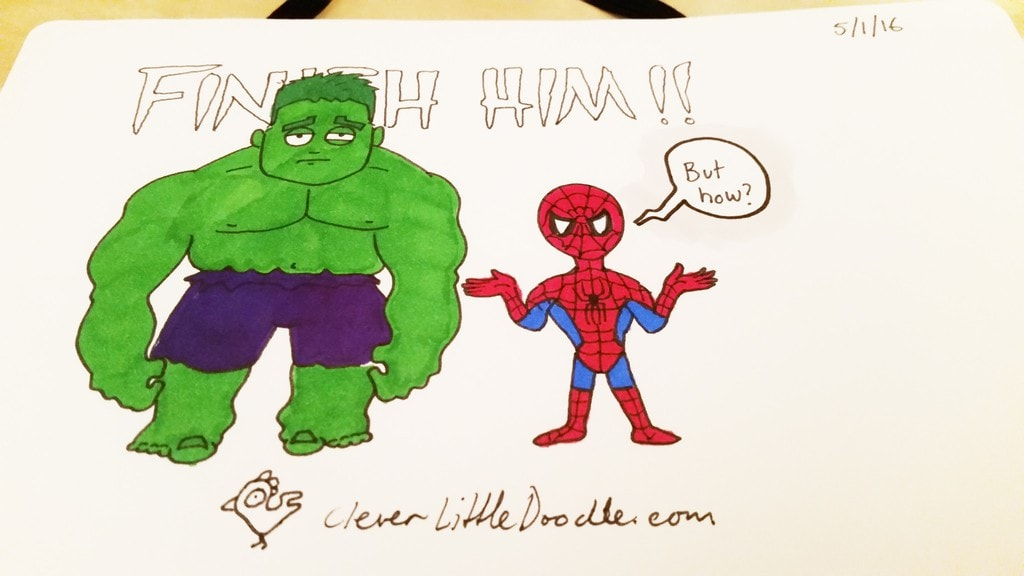 Could Spider-Man beat the Hulk? Colour version.