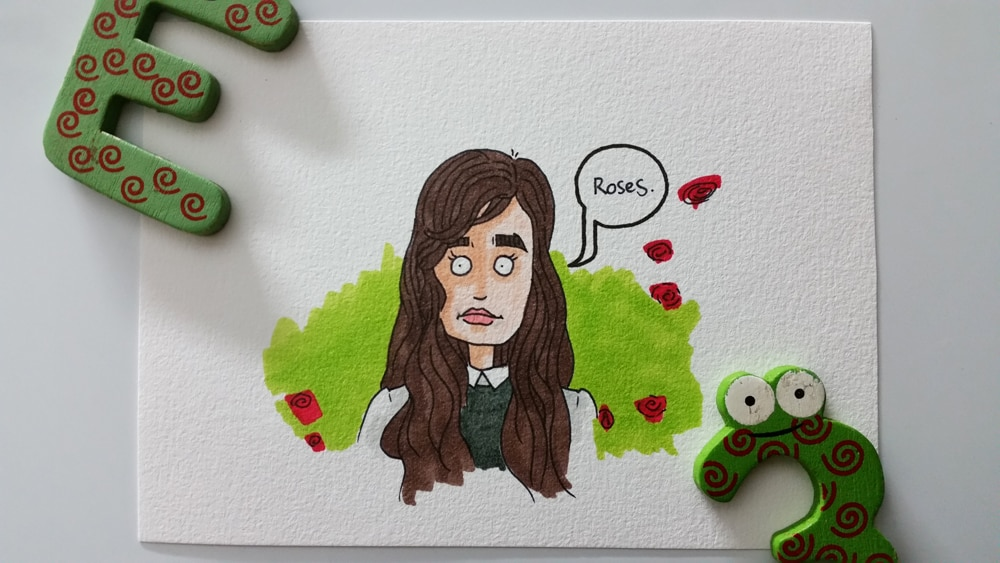 My other half, in the rose garden. Drawn with a sharpie pen and coloured with copic markers.