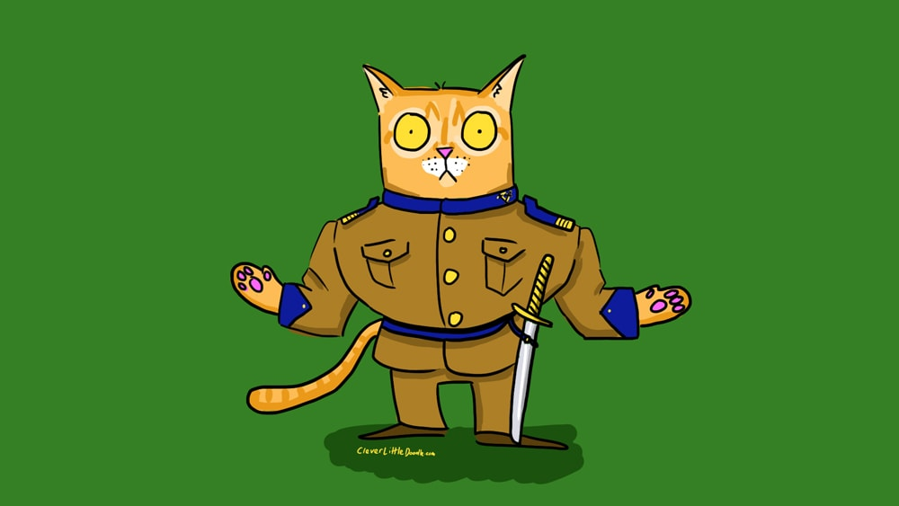 Please paint my cat Fred as a great general, i.e. cat head, human body, but maybe cat hands.