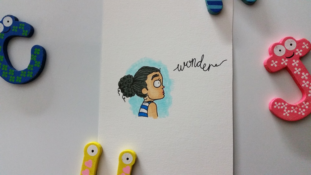 A cartoon drawing of a young girl gazing off into the distance, her eyes full of wonder.