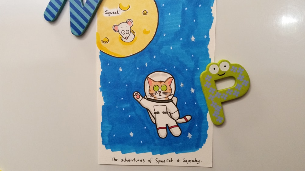 The adventures of space cat and squeaky theo (the mouse).