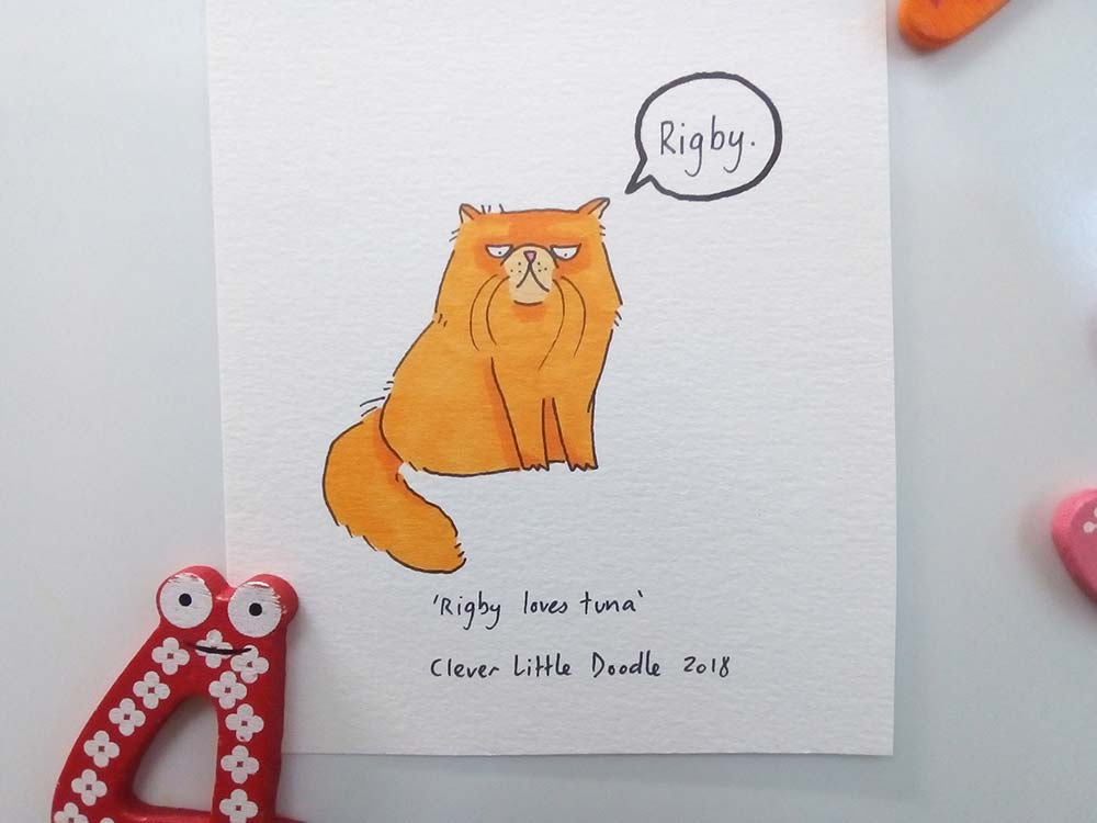 Rigby the Persian cat, coloured in with orange Copic markers.