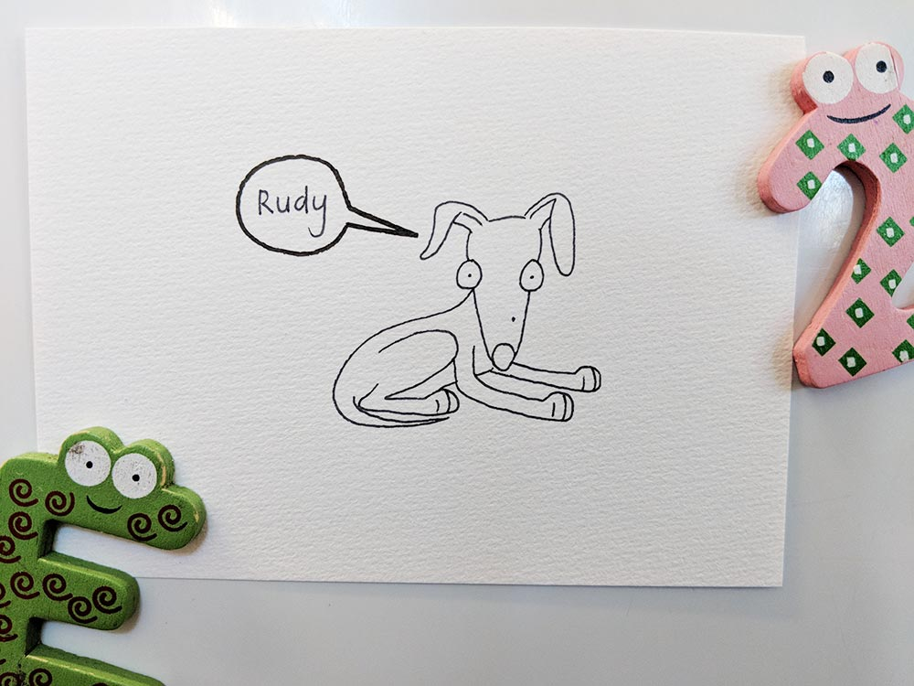 A drawing of Rudy the Italian Greyhound.