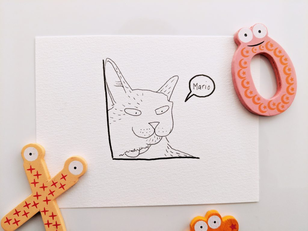 Mario is a domestic short-haired cat. This is a little drawing of him.