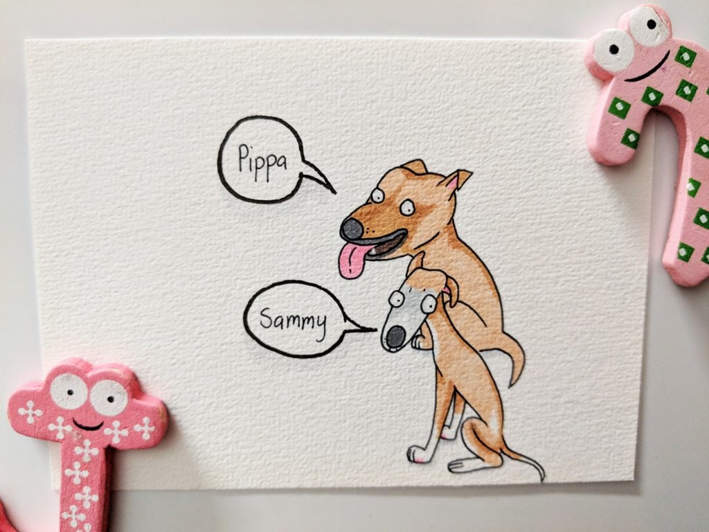 Pippa and Sammy coloured in