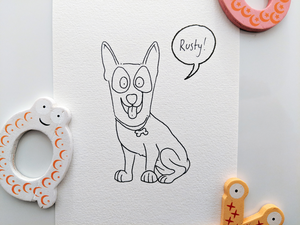 Rusty the Red Kelpie - drawn with a Sharpie pen