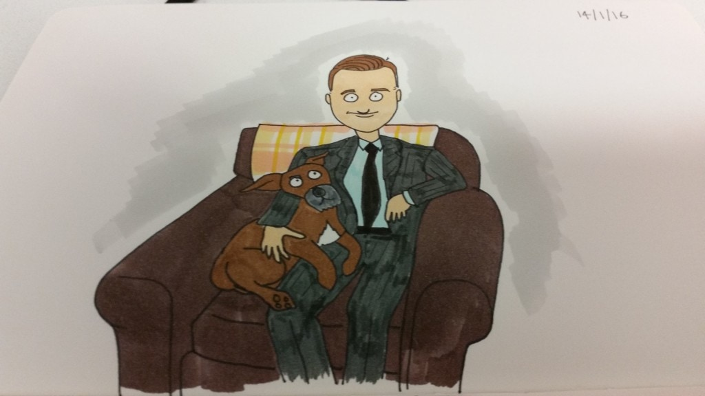 My dog and I - coloured in