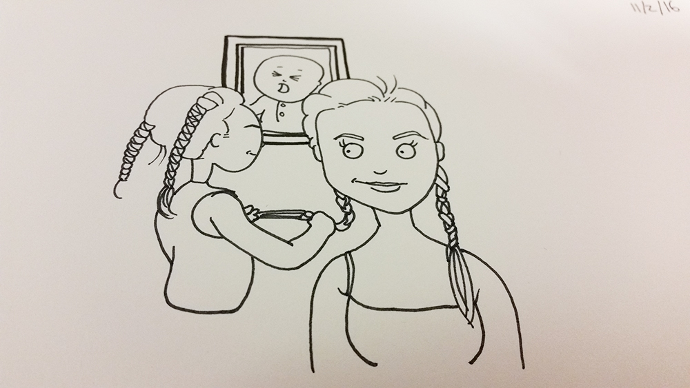 "an you draw my daughter ""braiding"" my hair. i love that it shows her progression (background pic)."