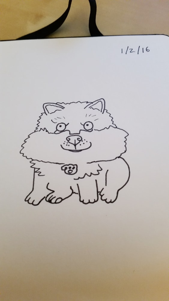 Could anyone draw my puppy, Loki the Finnish Lapphund? [suggested x-post from r/aww] (Sharpie pen drawing)