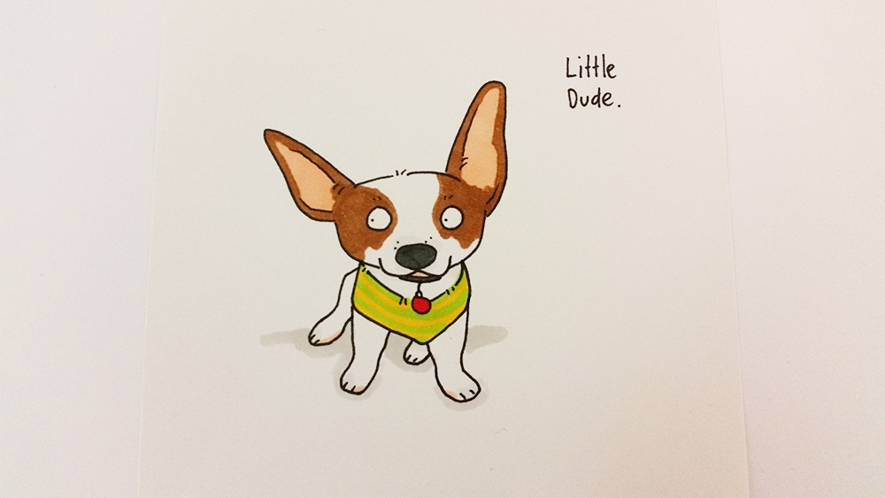 A colored picture of a little puppy wearing a green and yellow striped vest. I think he might be a Jack Russel puppy.