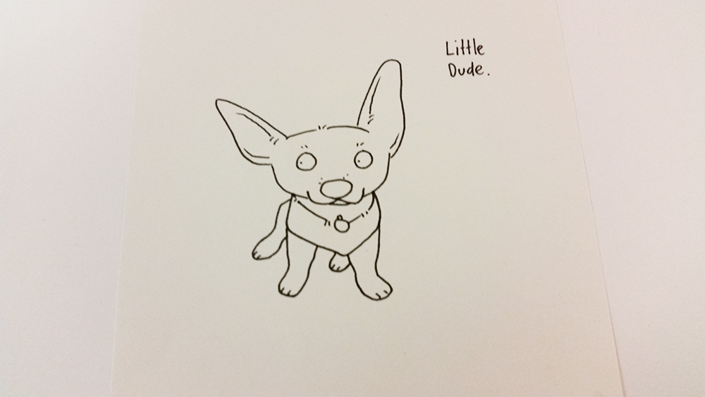A drawing of a little puppy wearing a vest. I think he might be a Jack Russel?