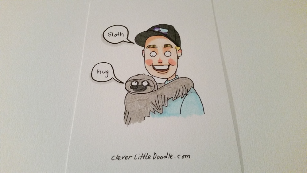 Snow White the Sloth having a hug