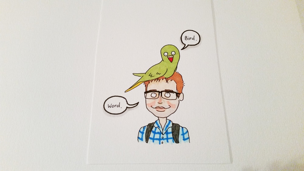 The parrot is green with a bright orange beak, and looks rather chuffed to be sitting on this husband's head! Coloured in with Copic markers.