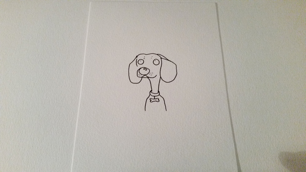 Frederick the sausage dog, looking very interested in something. (Sharpie drawing.)