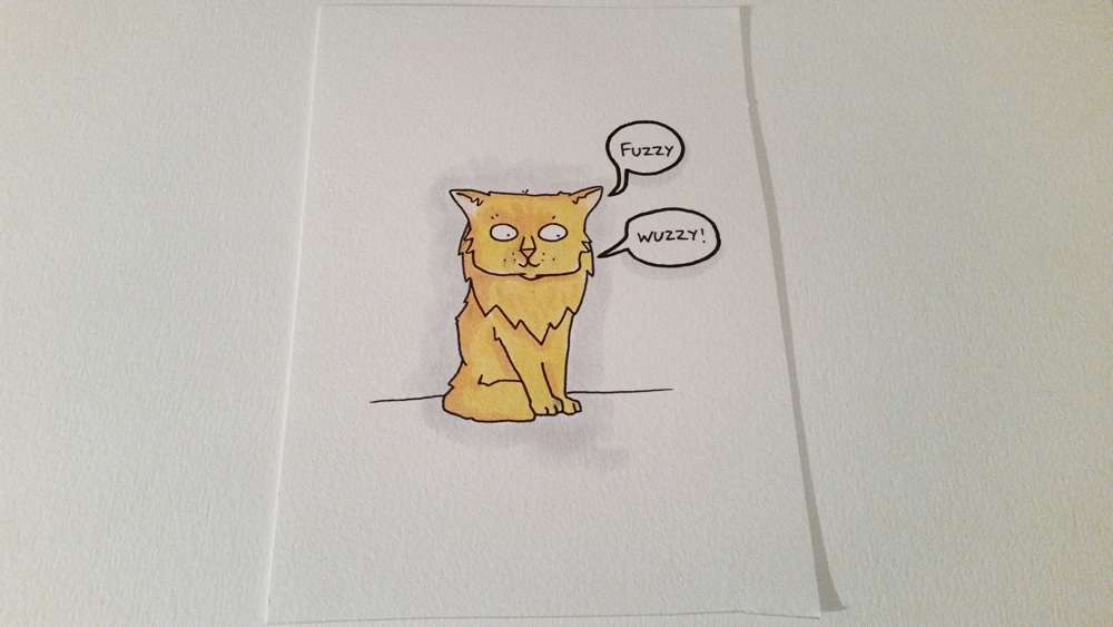 Fuzzy cat has a light coloured fur with golden accents - but I've coloured her in mostly yellow.