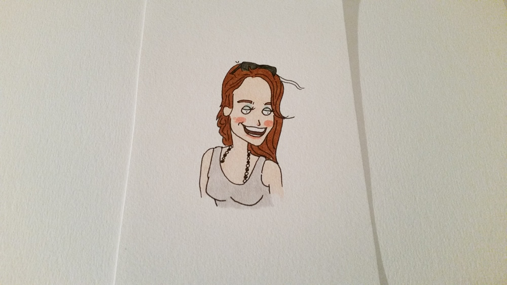 Doodle of a happy girlfriend using copic markers.