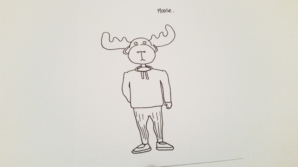 Person wearing a moose head costume - sharpie drawing