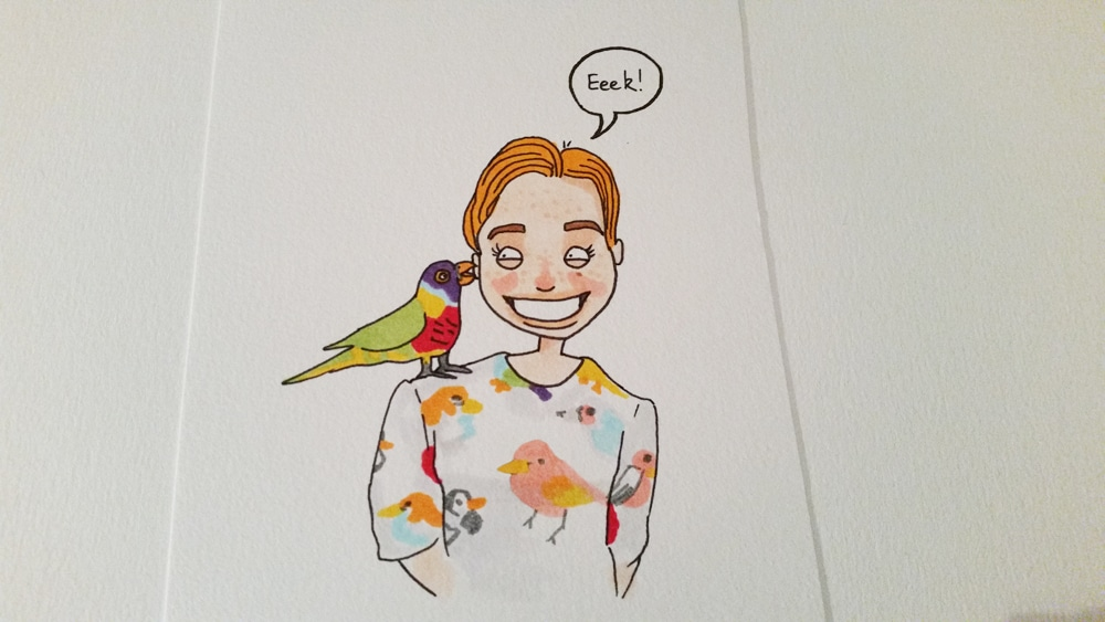 A parrot sitting on a lady's shoulder, coloured in. The parrot is purple, red, yellow, and green. The lady has orange hair.