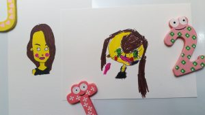 two drawings of a cartoon lady coloured in yellow like the Simpsons