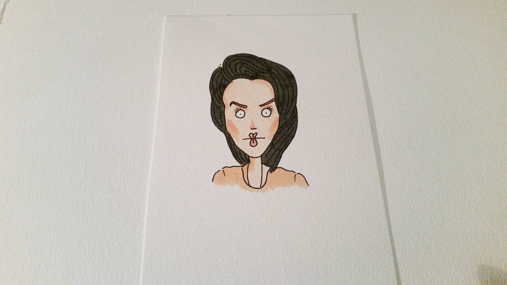 A picture of a lady with a funny expression on her face. Coloured with Copic markers.