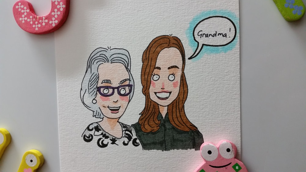 Grandma hanging out with her granddaughter. She's rocking some purple spectacles in this drawing :)