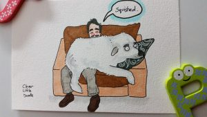 A big dog, that almost looks like a polar bear, sitting on a person's lap and squishing him. Copic marker and sharpie pen drawing.