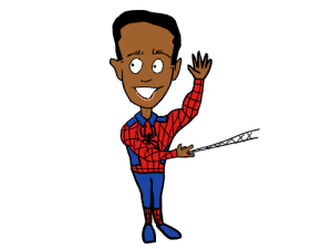 A drawing of a little boy dressed up as Spider-Man and waving hello