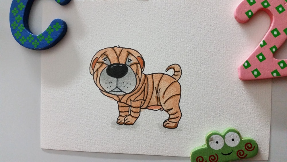 Cartoon drawing of a Shar Pei puppy from Instagram.