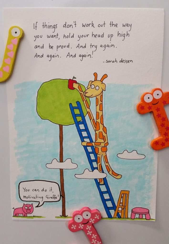 Motivating Giraffe climbing up a ladder to reach an apple at the top of the tree