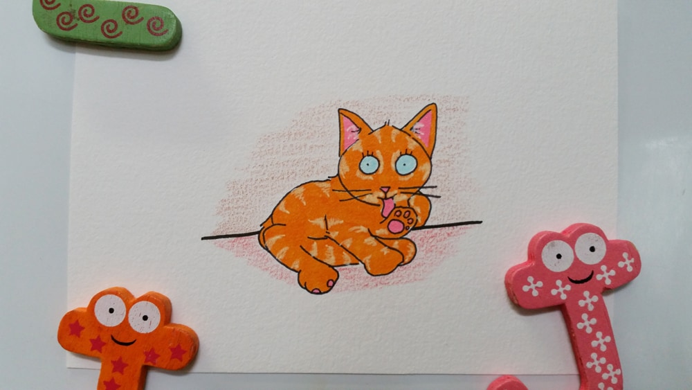 A drawing of a ginger kitten