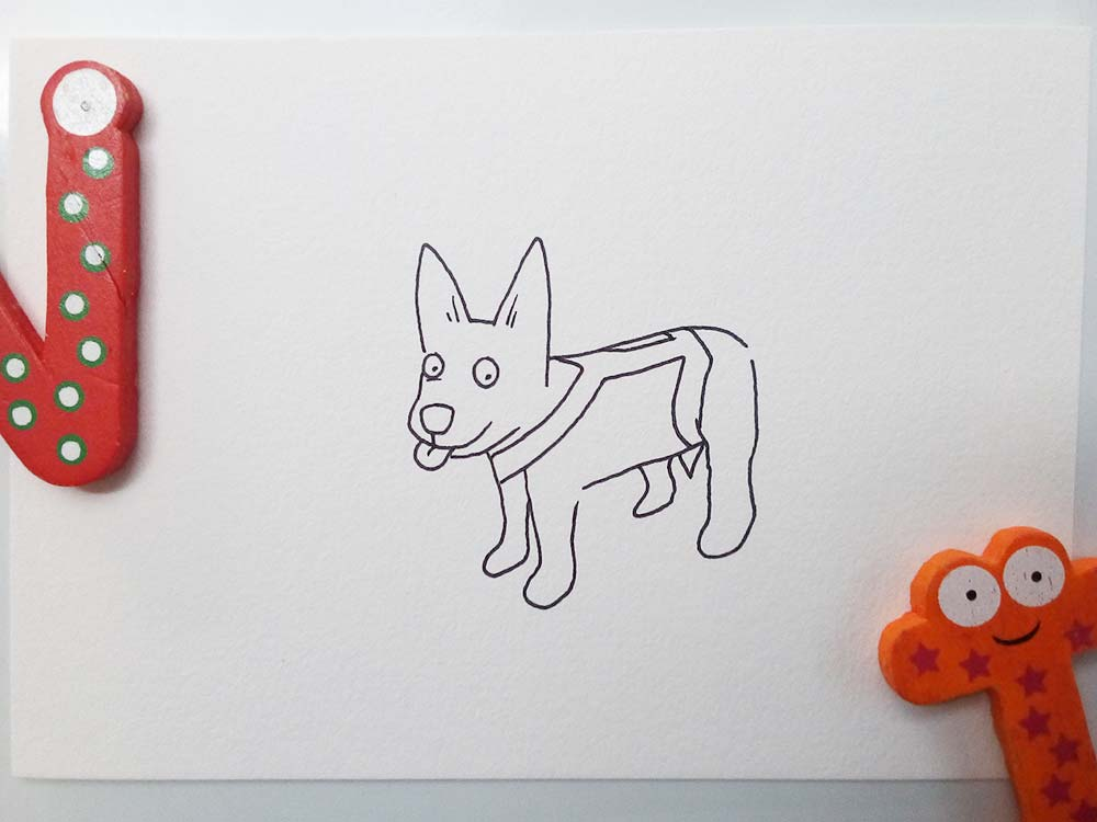 Sharpie drawing of Chelsie, a Blue Heeler x Kelpie from Perth