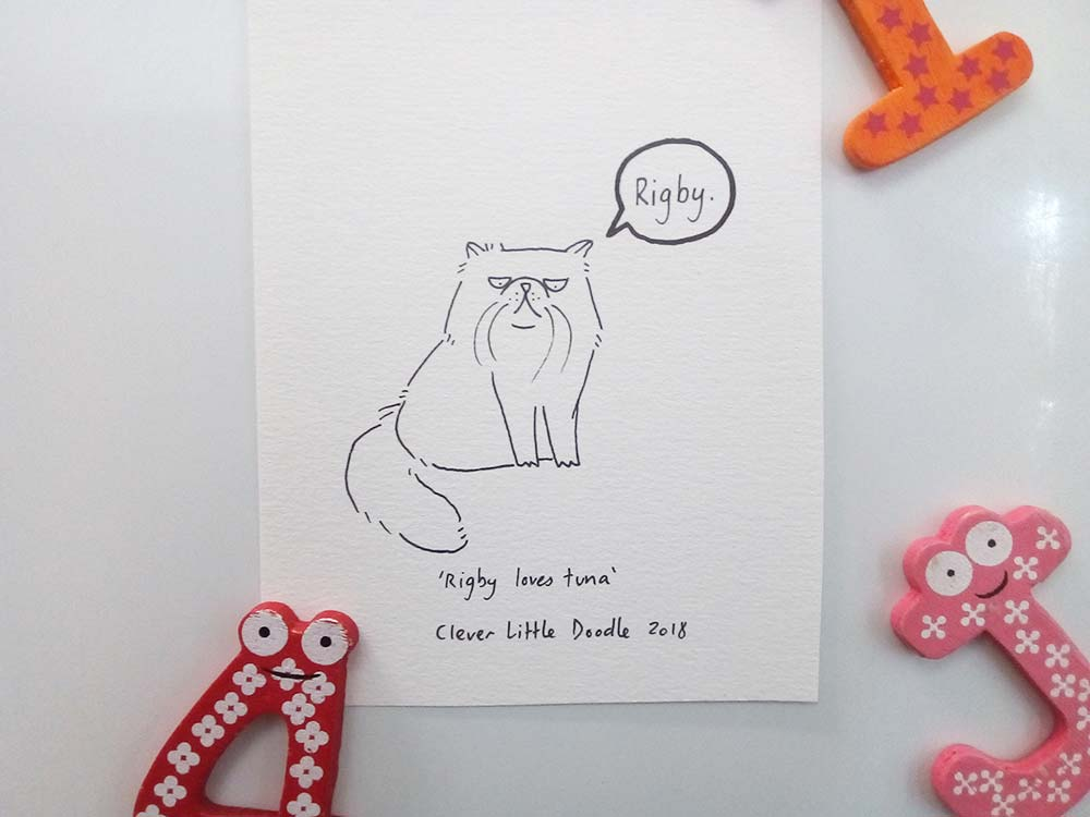 Sharpie drawing of Rigby, a Persian cat from Perth