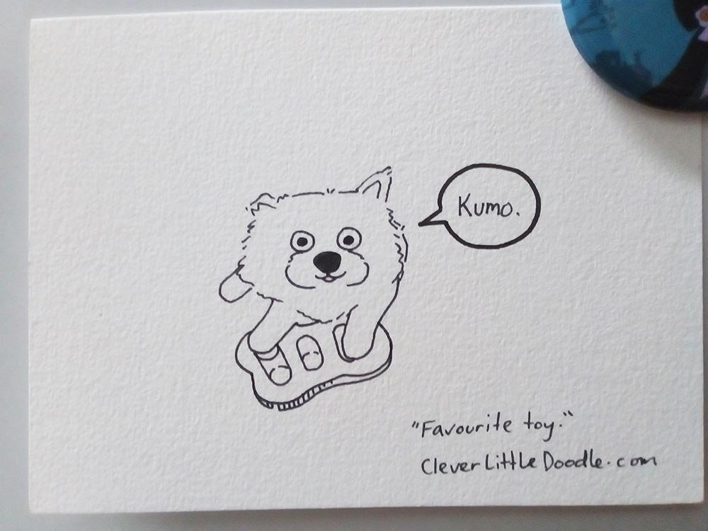 Sharpie pen drawing of a Japanese Spitz puppy called Kumo