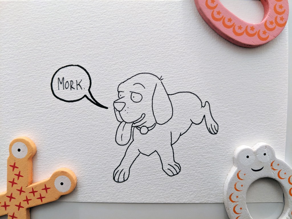 Mork the Beagle line drawing.