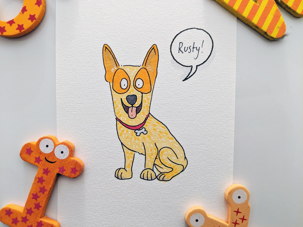 Rusty the red kelpie - coloured with copic markers