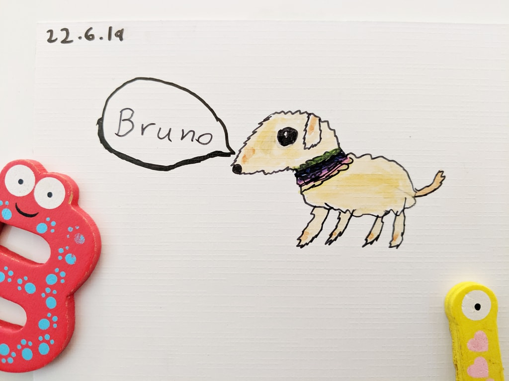 Bruno the Schnauzer x Sausage Dog - Kids Drawing