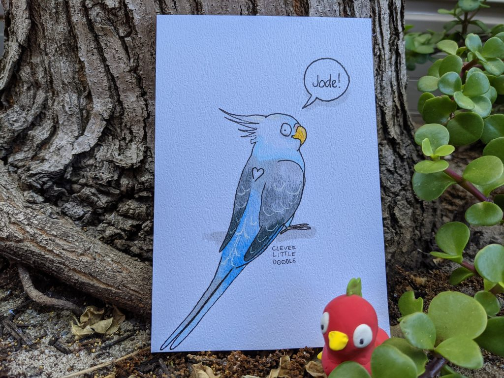 A drawing of Jode the Cockatiel. She has a blue body, grey wings and a white crest - she also has a love heart shape on her back.